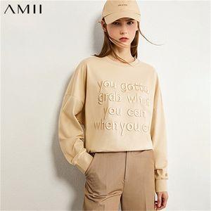 AMII Minimalism Autumn Fashion Boyfriend Style Embroidery Women Sweatershirt Causal Oneck Loose Letter Female Pullover LJ201124