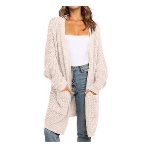 Femmes Boho Cardigan Cardigan à manches longues à manches longues ouvertes Pulls à tricoter avant manteau Poches élégantes Streetwear Mujer Suéteres