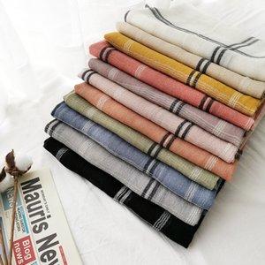 2020 woman fashion stripe cotton and linen scarf Spring and autumn cotton and linen color plaid scarf long shawl
