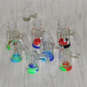 14mm 18mm Male Glass Ash Catcher with colors silicone containers straight silicone bong water bong glass bong oil rig for smoking pipes