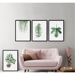 Green Plant Digital Painting Modern Decorated Picture Framed Painting Fashion Art Painted Hotel Sofa Wall Decoration jllhhU Fight2010