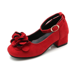 Pink Red Black Childrens Girls Leather Shoes for Kids High Heeled Girls Princess Shoes For Party Wedding Big Girls Dress Shoes Y201028