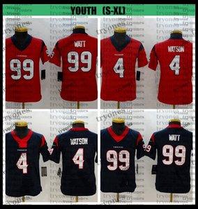 Youth Kids Deshaun Watson Football Jerseys 4 Deshaun Watson 99 J.J. Watt Stitched Football Shirts Boys Blue Red Cheap BB1