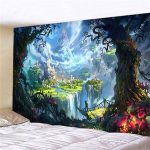Mushroom Castle Tapestry Fairytale Dreamy Tapestry wall Hanging Huge Psychedelic Carpet Hippie Tapestries Kids Room wall Decor