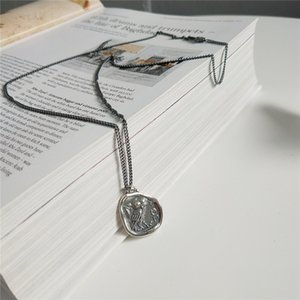 RUIYI Real 925 Sterling Silver Women Vintage Owl Coin Pendant Necklace Female Make Old Distressed Freedom Style Sweater Chokers Z1126