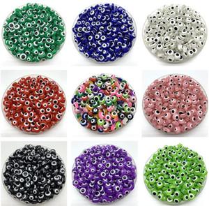 200 unids 11mm Forma ovalada Espaciador Beads Perlas de ojos malvados Perlas de resina Spacer Beads para joyería haciendo pulsera collar encantos