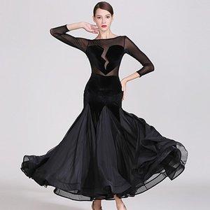 black ballroom dance dress for dancing clothes ballroom waltz dress tango dance costumes ball spanish heart-broken