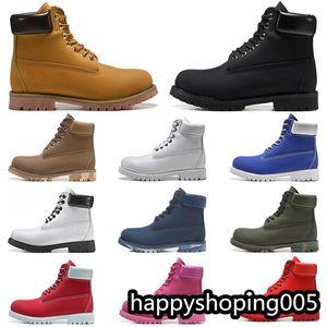 Fashion Men's Boots Moda Zapatos para hombre Zapatos de mujer Top Calidad Tobillo Cowboy Botas de invierno Amarillo Rojo Azul Negro Pink Zapatos de montañismo