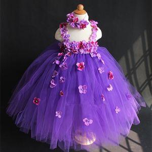 Beautiful Girls Purples Flower Petals Tutu Dress Kids Fluffy Tulle Wedding Party Dress with Headband Children Crochet Long Tutus Z1127