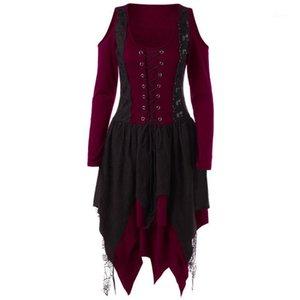 Woman Vintage Gothic Bandage Dress Medieval Renaissance Evening Party Vestido Lace Off Shoulder Irregular Halloween Costumes1