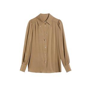 Spring Summer Blouse Silk Solid Shirt Women Elegant Chemise Femme Long Sleeve Hemd Donna Fashion Camicia Kamiseta
