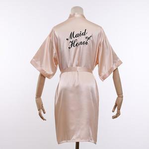 Maid of Honor Robe Bride Bridesmaid Embroidery Wedding Gown Womens Summer Short Kimono Yukata Nightgown Lady Sleepshirts M-XXL