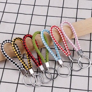 Fashion Braided Woven Keychain PU Leather Rope Rings DIY Circle Pendant Key Chains Holder Car Keyrings Jewelry Accessories 76Color 2020