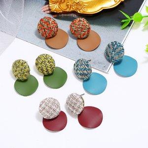 Koreanische stil retro frostige runde ruppen geometrische einfache mode stoff girly ohrringe kontrast farbe kleine frische ohrringe