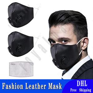 Adultos máscara de cuero con doble Válvula respiratoria Mascarilla PU suave a prueba de polvo a prueba de viento de ciclo con un filtro de PM 2.5