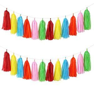 DIY Tissue Paper Tassel Garland for Wedding Hanging Garland Ribbon Curtain Baby Shower Decoration Party celebration Supplies