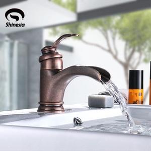 Free Shipping New Special Roman Copper Bathroom Sink Faucet Waterfall Single Handle Mixer Tap Solid Brass Hot and Cold Water