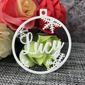 Personalized Christmas Bauble Gift Tags Custom Christmas snowflakes Ornament Ball Wooden Ornament Ball Y1126