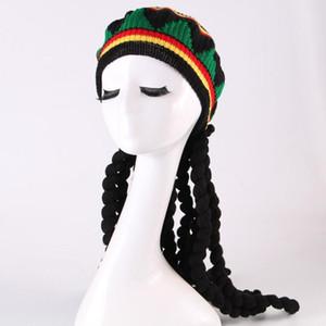 Fashion Jamaican Rasta Hat Wig Dreadlocks Caribbean Beret Cap Wool Knit Prom Performance Halloween Hats For Men Women1