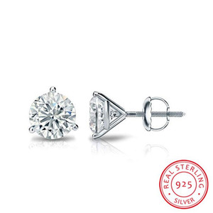 Stud 925 Lab Luxury Earrings 100% 6 7 8mm Sterling Round Silver Screw Gift Small For Diamond Female Real Women Thiqb