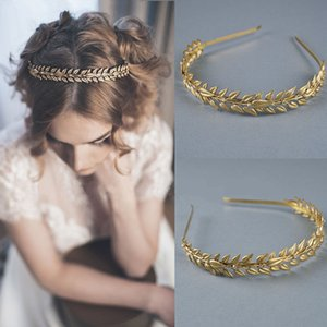 Baroque Metal Gold Leaf Headband Leaves Headpiece Tiara Hairband For Women Forehead Hair Jewelry Wedding headwear
