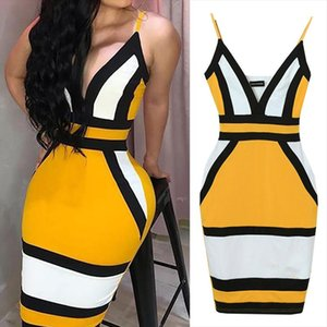 Fashion Hit Color Sling Tight Celebrity Sexy Cocktail Party Bandage Dress Drop Shipping Drop Shipping Good Quality
