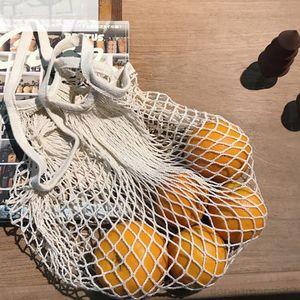 Shopping Handbags Shopper Tote Mesh Net Woven Cotton String Fruit Bags Handbag Reusable Home Storage Bag OWF3018