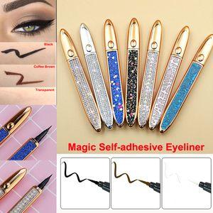 Auto adesivo delineador 2 em 1 caneta de delineador líquido diamante bling liner sem cola não magnética para maquiagem olho cílios postianos 3 cores