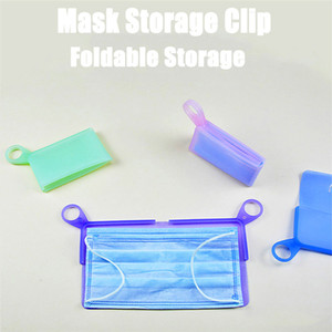 Silicone Flat Type Mask Storage Box Mask Temporary Clip Dust-proof Pollution-proof Security Mask Holder Bags Artifact BWD3279