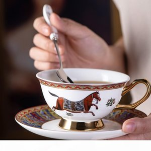 Ceramic Coffee Mug Creative classic cup and saucer set Successful Horse export Luxury bone china set exquisite Gift Box