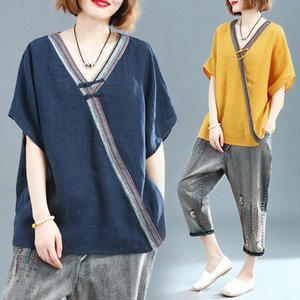 Women Summer Fashion Japan Style Short Sleeve V-neck Cotton Linen T-shirts Office Lady Large Size Loose 100KG Fit Pullover Tee