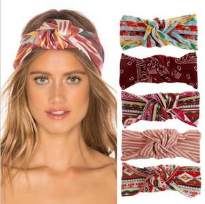 Hairbands Cross Headband Women Accesorios para el cabello a rayas Girls Fashion Wrap Wrap Elástico Turban Luxury Yoga Banda de pelo EWB3299