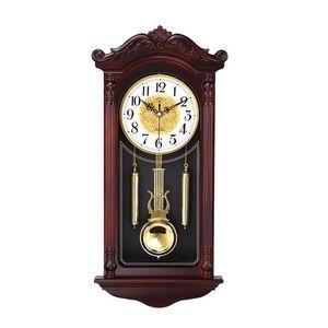 Creative Chinese Wall Clock Retro Living Room Silent Pendulum Swing Clocks Imitation Wood Quartz Clock Duvar Saati Gift FZ693