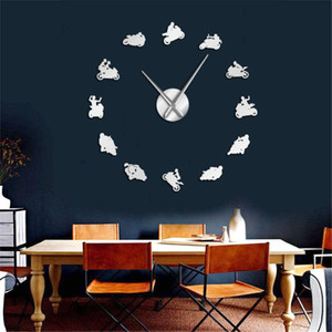 Large Wall Clock Explosive Motorcycle Riding Mobile Phone 3D Acrylic Mirror EVA Wall Clock European Living Room
