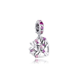 New Real 925 Sterling Silver Pink Crystal Pave Heart Family Tree Dangle Charms Pendant Beads fit Original Bracelets Women Gift Diy Jewelry
