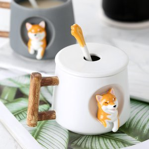 Cartoon ceramic cup trend personality creative mug with lid spoon couple men and women home drinking cup coffee cup