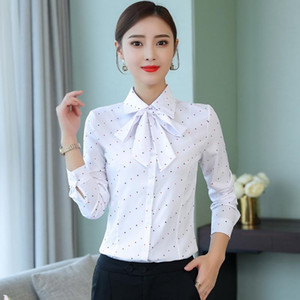 White Blouse Women Korean Fashion Clothing Butterfly Neck Long Sleeve Shirt Women Elegant Polka Dot Office Womens Shirts Blusas