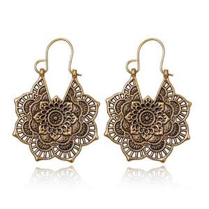 Retro national style metal openwork Flower Earrings Bohemia carved Earrings