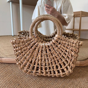 Designer-NEW Fashion Women Tote Bag Rattan Cotton Rope Hollow Straw Woven Summer Beach Bag Casual Handmade Female Shoulder Bags Sac