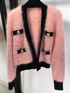 New winter fashion all-match lazy style hit color v-neck double-breasted mohair cardigan Sweater