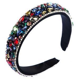 Colorful Gem Baroque Headbands For Women Diamond Hair Accessories Pearl Headband for Girls Crown Flower Hairbands Head Wrap