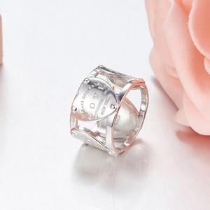 Marca de Alta Qualidade 925 Prata Esterlina Novo Clássico Anel Do Amor Anel Grosso Líquido Dedo Gösterge Vermelho Tendência Anel de Mevcut