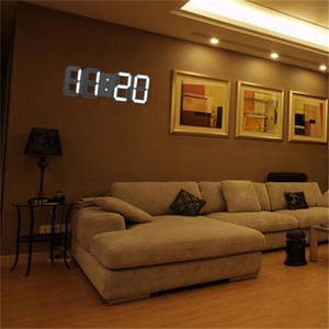 Modern 3D LED Wall Clock Modern Alarm Clocks Display Home Living Room Office Table Desk Night Wall Clock Display