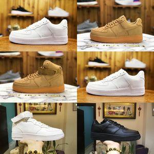 2020 Nike Air Force 1 one airforce Shoes uomini scarpe da skateboard basso a buon mercato un unisex 1 knit Euro Air High Donne tutte bianche Scarpe Designer Nero