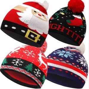 Christmas Knitting Chapéu Pom Pom Pom Winter Outdoor Mantenha-se Warm Windproof Refresc À Prova de Snowflake Dom Snowflake Elk Snowman de malha Beanie Party Cap Ljjp802