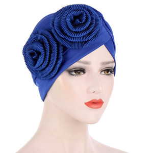 Muslim Turban Head wrap for women Solid Ruffle Flower Headwear Chemo Beanies Caps for Cancer Hair Loss Cover
