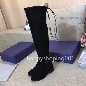 Heißer Verkauf-hoher Qualität Frauen über den Kniestiefel elastisch hoch, um flache Schuhe zu helfen schwarze SW-Schnürschuhe Größe 35-40
