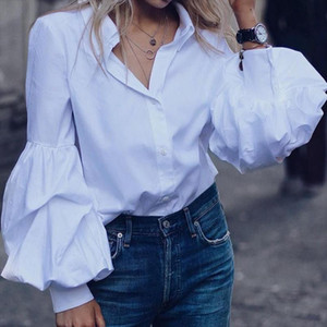 Celmia Fashion Shirts Elegant Puff Sleeve Women Blouse Buttons Casual Loose Solid Party Tops Long Sleeve Work Blusas Plus Size