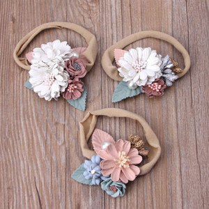 Lovely Baby Headband Fake Flower Nylon Hair Bands For Kids Artificial Floral Elastic Head Bands Headwear