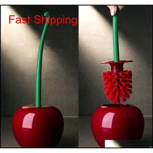 Creative Lovely Cherry Shape Lavatory Brush Toilet Brush & Holder Set Cleaning Tool Plastic Bathroom Deco qylXDn hairclippersshop